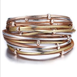 Jewelry - 🆕 Rose Gold, Gold and Silver Leather Wrap